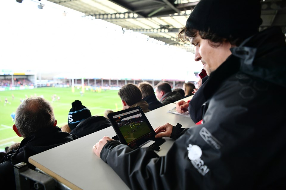 EXETER, ENGLAND - DECEMBER 24:  An iPad is monitored by a member of Exeter Chiefs staff for possible head injuries during the Aviva Premiership match between Exeter Chiefs and Leicester Tigers at Sandy Park on December 24, 2016 in Exeter, England. (Photo by Dan Mullan/Getty Images)