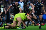 EXETER, UNITED KINGDOM - DECEMBER 24: Thomas Waldrom of Exeter Chiefs is tackled by Ellis Genge of Leicester Tigers during the Aviva Premiership match between Exeter Chiefs and Leicester Tigers at Sandy Park on December 24 2016 in Exeter, England. (Photo by Harry Trump/Getty Images)