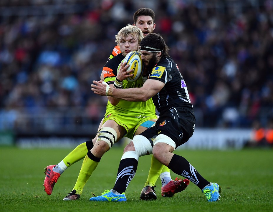EXETER, ENGLAND - DECEMBER 24:  Luke Hamilton of Leicester Tigers is tackled by Don Armand of Exeter Chiefs during the Aviva Premiership match between Exeter Chiefs and Leicester Tigers at Sandy Park on December 24, 2016 in Exeter, England. (Photo by Dan Mullan/Getty Images)