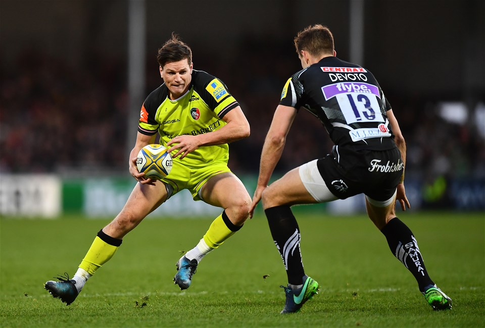 EXETER, ENGLAND - DECEMBER 24:  Freddie Burns of Leicester Tigers takes on Ollie Devoto of Exeter Chiefs during the Aviva Premiership match between Exeter Chiefs and Leicester Tigers at Sandy Park on December 24, 2016 in Exeter, England. (Photo by Dan Mullan/Getty Images)