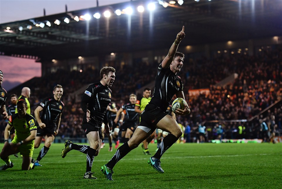 EXETER, ENGLAND - DECEMBER 24:  Ollie Devoto of Exeter Chiefs celebrates scoring his side's fourth try during the Aviva Premiership match between Exeter Chiefs and Leicester Tigers at Sandy Park on December 24, 2016 in Exeter, England. (Photo by Dan Mullan/Getty Images)