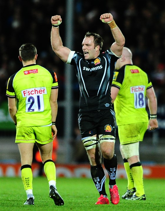 EXETER, UNITED KINGDOM - DECEMBER 24: Kai Horstmann of Exeter Chiefs celebrates victory during the Aviva Premiership match between Exeter Chiefs and Leicester Tigers at Sandy Park on December 24 2016 in Exeter, England. (Photo by Harry Trump/Getty Images)