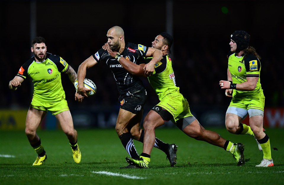 EXETER, ENGLAND - DECEMBER 24:  Olly Woodburn of Exeter Chiefs is tackled by Manu Tuilagi of Leicester Tigers during the Aviva Premiership match between Exeter Chiefs and Leicester Tigers at Sandy Park on December 24, 2016 in Exeter, England. (Photo by Dan Mullan/Getty Images)