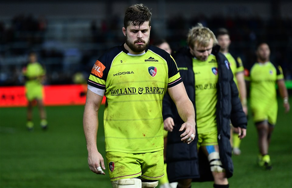 EXETER, ENGLAND - DECEMBER 24:  Ed Slater of Leicester Tigers leaves the field dejected following his side's defeat during the Aviva Premiership match between Exeter Chiefs and Leicester Tigers at Sandy Park on December 24, 2016 in Exeter, England. (Photo by Dan Mullan/Getty Images)
