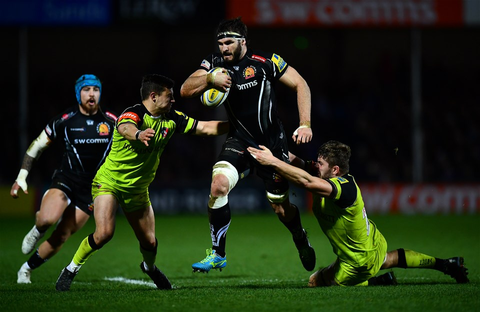 EXETER, ENGLAND - DECEMBER 24:  Don Armand of Exeter Chiefs is tackled by Jono Kitto of Leicester Tigers and Ed Slater of Leicester Tigers during the Aviva Premiership match between Exeter Chiefs and Leicester Tigers at Sandy Park on December 24, 2016 in Exeter, England. (Photo by Dan Mullan/Getty Images)