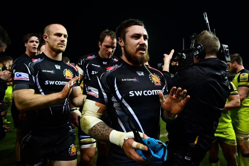EXETER, ENGLAND - DECEMBER 24:  Jack Nowell of Exeter Chiefs acknowledges the fans following his side's victory during the Aviva Premiership match between Exeter Chiefs and Leicester Tigers at Sandy Park on December 24, 2016 in Exeter, England. (Photo by Dan Mullan/Getty Images)