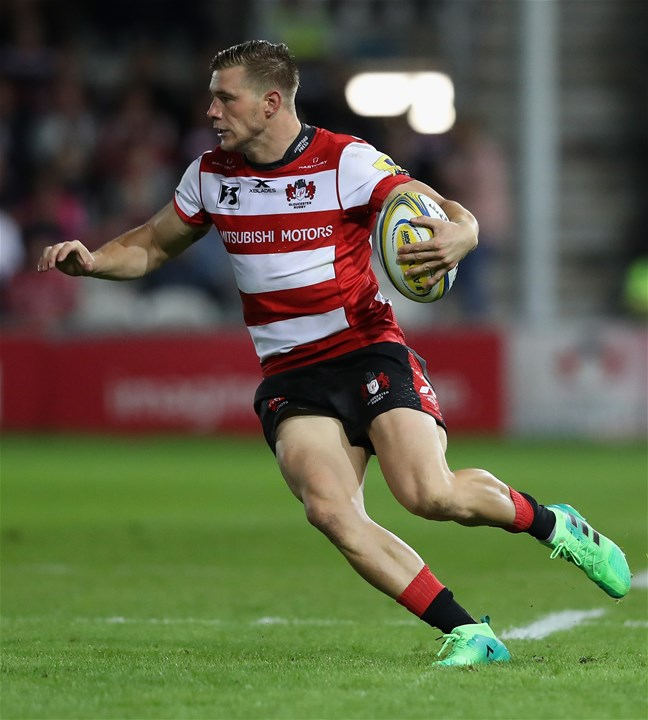 GLOUCESTER, ENGLAND - SEPTEMBER 01:  Jason Woodward of Gloucester runs with the ball during the Aviva Premiership match between Gloucester Rugby and Exeter Chiefs at Kingsholm Stadium on September 1, 2017 in Gloucester, England.  (Photo by David Rogers/Getty Images)