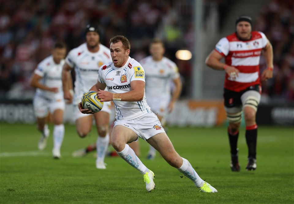 GLOUCESTER, ENGLAND - SEPTEMBER 01:  Max Bodilly of Exeter breaks with the ball during the Aviva Premiership match between Gloucester Rugby and Exeter Chiefs at Kingsholm Stadium on September 1, 2017 in Gloucester, England.  (Photo by David Rogers/Getty Images)