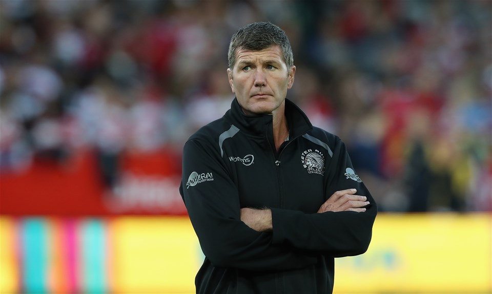 GLOUCESTER, ENGLAND - SEPTEMBER 01:  Rob Baxter, the Exeter Chiefs director of rugby looks on during the Aviva Premiership match between Gloucester Rugby and Exeter Chiefs at Kingsholm Stadium on September 1, 2017 in Gloucester, England.  (Photo by David Rogers/Getty Images)