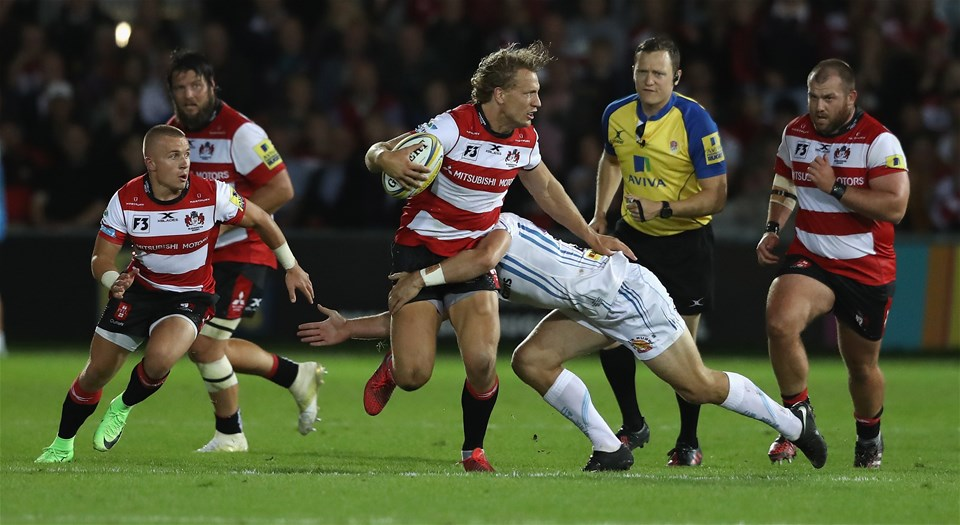 GLOUCESTER, ENGLAND - SEPTEMBER 01: Billy Twelvetrees of Gloucester breaks with the ball during the Aviva Premiership match between Gloucester Rugby and Exeter Chiefs at Kingsholm Stadium on September 1, 2017 in Gloucester, England.  (Photo by David Rogers/Getty Images)