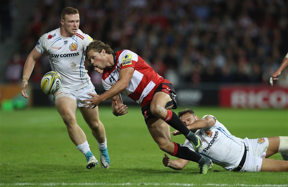 GLOUCESTER, ENGLAND - SEPTEMBER 01:  Henry Purdy of Gloucester drops the ball as he is tackled during the Aviva Premiership match between Gloucester Rugby and Exeter Chiefs at Kingsholm Stadium on September 1, 2017 in Gloucester, England.  (Photo by David Rogers/Getty Images)