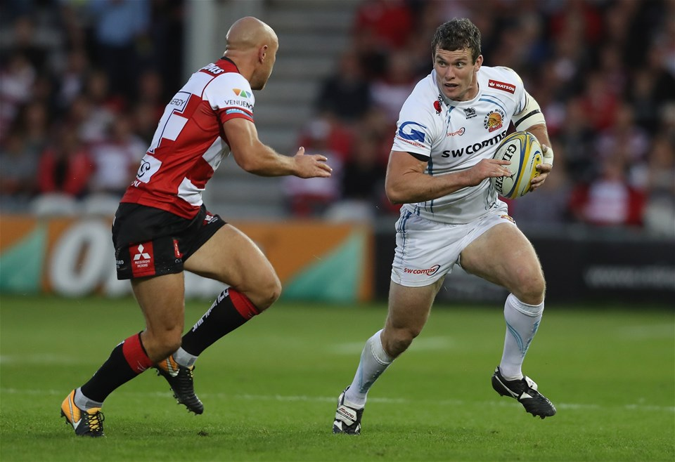 GLOUCESTER, ENGLAND - SEPTEMBER 01:  Ian Whitten of Exeter takes on Willi Heinz during the Aviva Premiership match between Gloucester Rugby and Exeter Chiefs at Kingsholm Stadium on September 1, 2017 in Gloucester, England.  (Photo by David Rogers/Getty Images)
