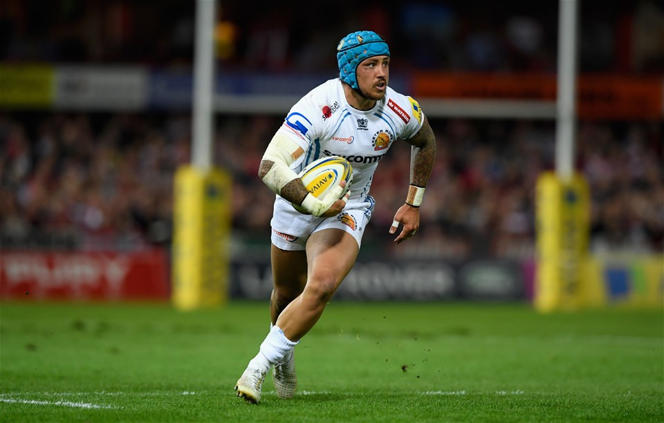 GLOUCESTER, ENGLAND - SEPTEMBER 01:  Chiefs wing Jack Nowell in action during the Aviva Premiership match between Gloucester Rugby and Exeter Chiefs at Kingsholm Stadium on September 1, 2017 in Gloucester, England.  (Photo by Stu Forster/Getty Images)