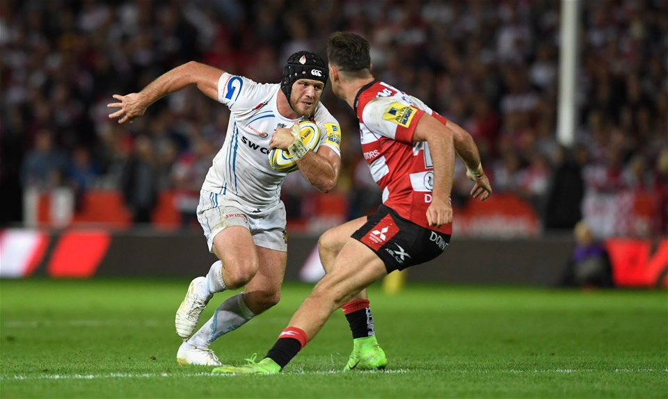 GLOUCESTER, ENGLAND - SEPTEMBER 01:  Chiefs player Jack Yeandle in action during the Aviva Premiership match between Gloucester Rugby and Exeter Chiefs at Kingsholm Stadium on September 1, 2017 in Gloucester, England.  (Photo by Stu Forster/Getty Images)