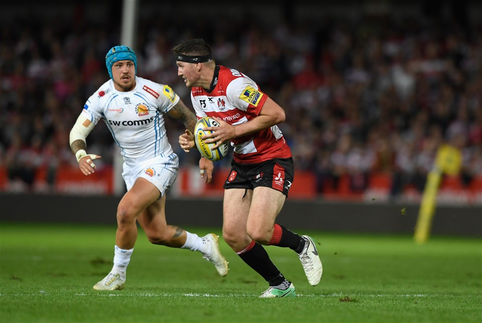 GLOUCESTER, ENGLAND - SEPTEMBER 01: Gloucester centre Andy Symons in action during the Aviva Premiership match between Gloucester Rugby and Exeter Chiefs at Kingsholm Stadium on September 1, 2017 in Gloucester, England.  (Photo by Stu Forster/Getty Images)
