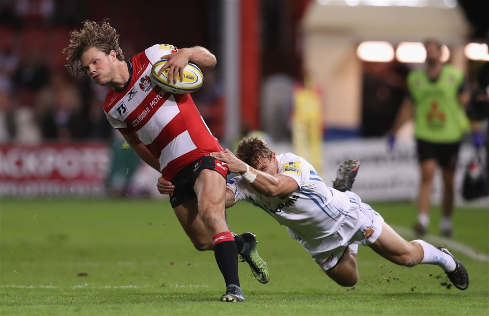GLOUCESTER, ENGLAND - SEPTEMBER 01:  Henry Purdy of Gloucester breaks with the ball during the Aviva Premiership match between Gloucester Rugby and Exeter Chiefs at Kingsholm Stadium on September 1, 2017 in Gloucester, England.  (Photo by David Rogers/Getty Images)