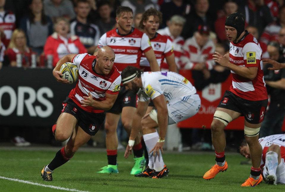 GLOUCESTER, ENGLAND - SEPTEMBER 01: Willi Heinz of Gloucester runs with the ball during the Aviva Premiership match between Gloucester Rugby and Exeter Chiefs at Kingsholm Stadium on September 1, 2017 in Gloucester, England.  (Photo by David Rogers/Getty Images)