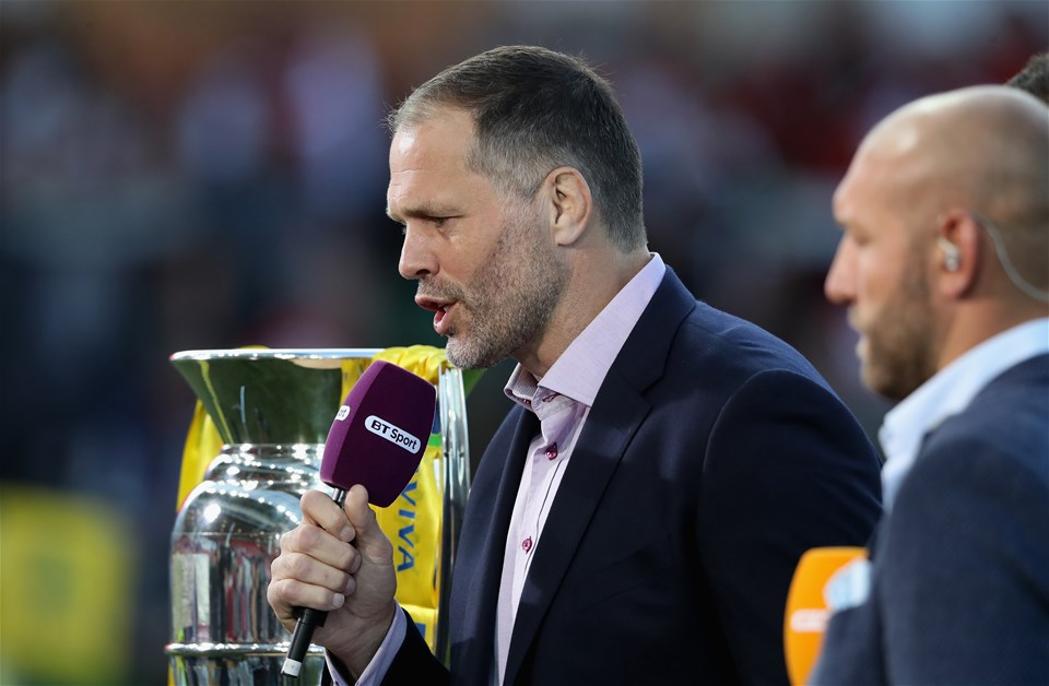 GLOUCESTER, ENGLAND - SEPTEMBER 01:  Former England international, now BT Sport rugby presenter Martin Bayfield looks on during the Aviva Premiership match between Gloucester Rugby and Exeter Chiefs at Kingsholm Stadium on September 1, 2017 in Gloucester, England.  (Photo by David Rogers/Getty Images)
