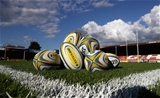 GLOUCESTER, ENGLAND - SEPTEMBER 01:  Rugby balls on the Kingsholm pitch prior to the Aviva Premiership match between Gloucester Rugby and Exeter Chiefs at Kingsholm Stadium on September 1, 2017 in Gloucester, England.  (Photo by David Rogers/Getty Images)