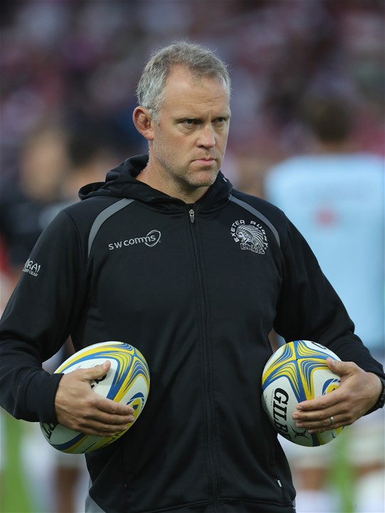 GLOUCESTER, ENGLAND - SEPTEMBER 01:  Rob Hunter, the Exeter Chiefs assistant coach looks on during the Aviva Premiership match between Gloucester Rugby and Exeter Chiefs at Kingsholm Stadium on September 1, 2017 in Gloucester, England.  (Photo by David Rogers/Getty Images)