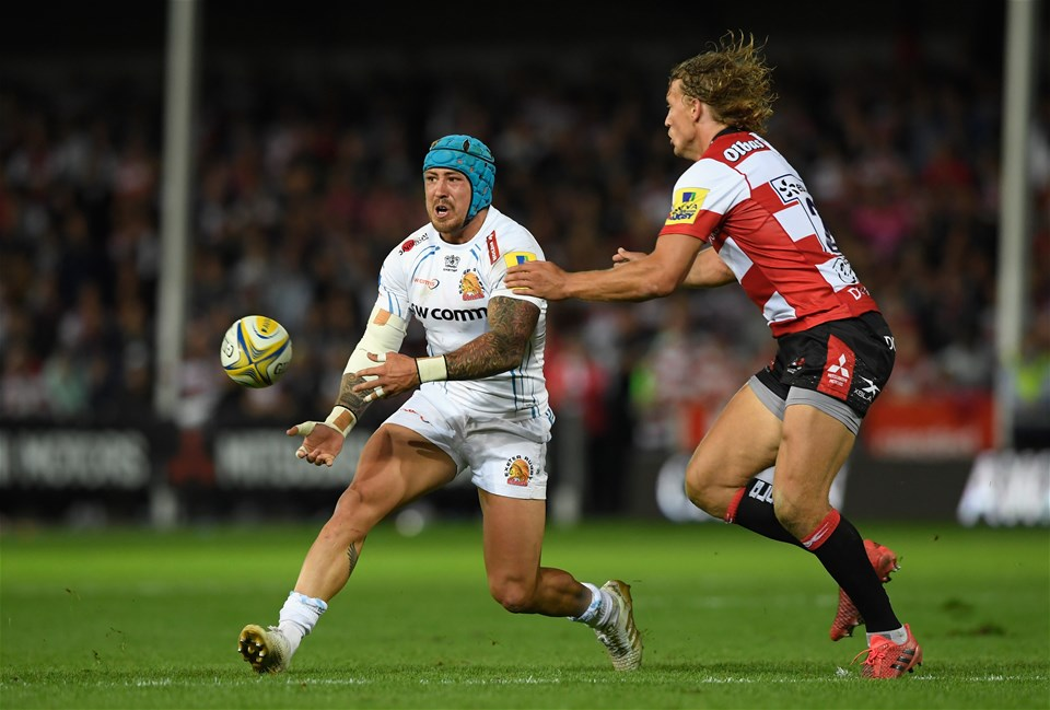 GLOUCESTER, ENGLAND - SEPTEMBER 01: Chiefs wing Jack Nowell takes on Billy Twelvetrees  during the Aviva Premiership match between Gloucester Rugby and Exeter Chiefs at Kingsholm Stadium on September 1, 2017 in Gloucester, England.  (Photo by Stu Forster/Getty Images)