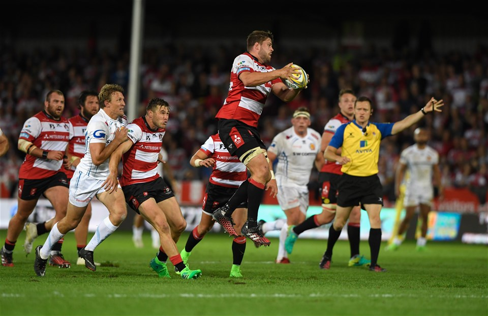 GLOUCESTER, ENGLAND - SEPTEMBER 01:  Gloucester player Ed Slater in action during the Aviva Premiership match between Gloucester Rugby and Exeter Chiefs at Kingsholm Stadium on September 1, 2017 in Gloucester, England.  (Photo by Stu Forster/Getty Images)