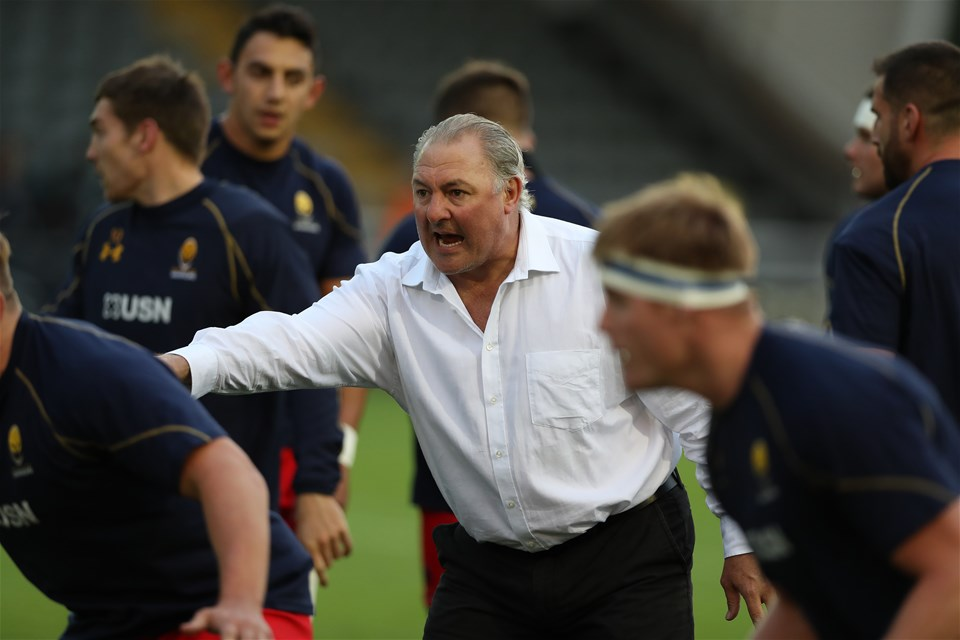 NEWCASTLE UPON TYNE, ENGLAND - SEPTEMBER 01: Gary Gold the Worcester Warriors director of Rugby is send during the Aviva Premiership match between Newcastle Falcons and Worcester Warriors at Kingston Park on September 1, 2017 in Newcastle upon Tyne, England. (Photo by Ian MacNicol/Getty Images)