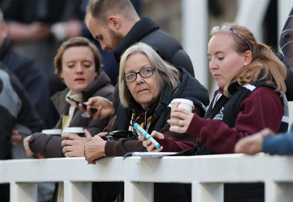 NEWCASTLE UPON TYNE, ENGLAND - SEPTEMBER 01: Fans look on during the Aviva Premiership match between Newcastle Falcons and Worcester Warriors at Kingston Park on September 1, 2017 in Newcastle upon Tyne, England. (Photo by Ian MacNicol/Getty Images)