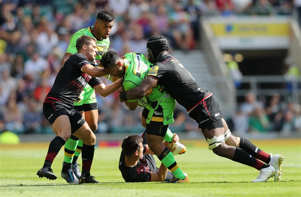 LONDON, ENGLAND - SEPTEMBER 02:  Ahsee Tuala of Northampton is tackled by Maro Itoje (R) during the Aviva Premiership match between Saracens and Northampton Saints at Twickenham Stadium on September 2, 2017 in London, England.  (Photo by David Rogers/Getty Images)
