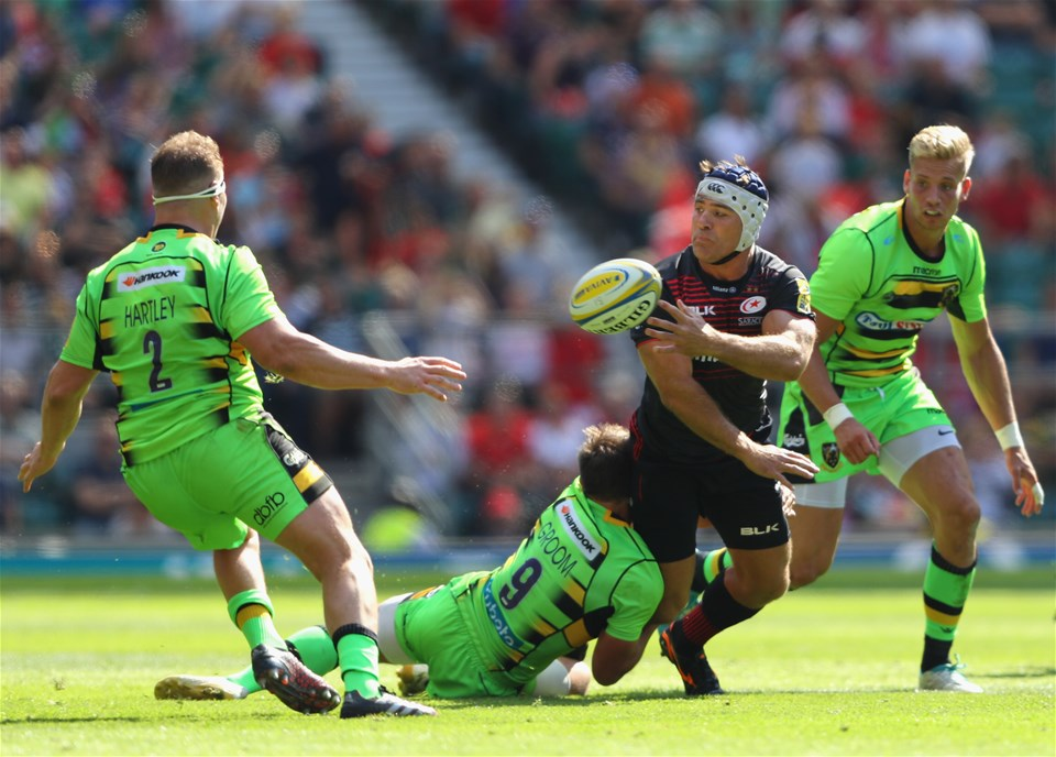 LONDON, ENGLAND - SEPTEMBER 02:  Schalk Brits of Saracens in action during the Aviva Premiership match between Saracens and Northampton Saints at Twickenham Stadium on September 2, 2017 in London, England.  (Photo by Warren Little/Getty Images)