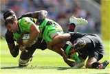 LONDON, ENGLAND - SEPTEMBER 02:  Nic Groom of Northampton Saints is tackled by Schalk Brits and Maro Itoje of Saracens during the Aviva Premiership match between Saracens and Northampton Saints at Twickenham Stadium on September 2, 2017 in London, England.  (Photo by Warren Little/Getty Images)