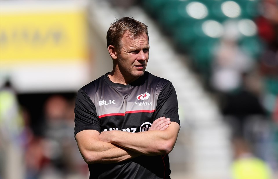 LONDON, ENGLAND - SEPTEMBER 02:  Mark McCall, the Saracens director of rugby looks on during the Aviva Premiership match between Saracens and Northampton Saints at Twickenham Stadium on September 2, 2017 in London, England.  (Photo by David Rogers/Getty Images)