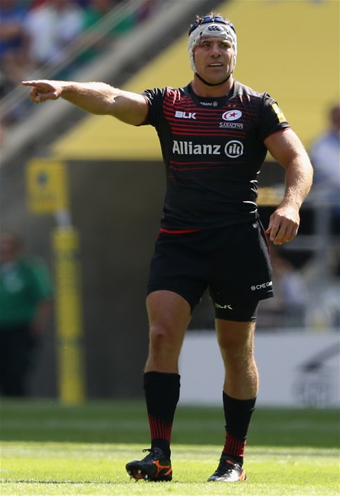 LONDON, ENGLAND - SEPTEMBER 02:  Schalk Brits of Saracens looks on during the Aviva Premiership match between Saracens and Northampton Saints at Twickenham Stadium on September 2, 2017 in London, England.  (Photo by David Rogers/Getty Images)