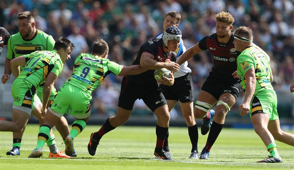 LONDON, ENGLAND - SEPTEMBER 02:  Schalk Brits of Saracens breaks with the ball during the Aviva Premiership match between Saracens and Northampton Saints at Twickenham Stadium on September 2, 2017 in London, England.  (Photo by David Rogers/Getty Images)