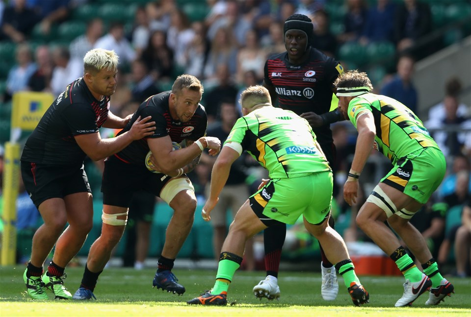 LONDON, ENGLAND - SEPTEMBER 02:  Dominic Day of Saracens charges upfield during the Aviva Premiership match between Saracens and Northampton Saints at Twickenham Stadium on September 2, 2017 in London, England.  (Photo by David Rogers/Getty Images)