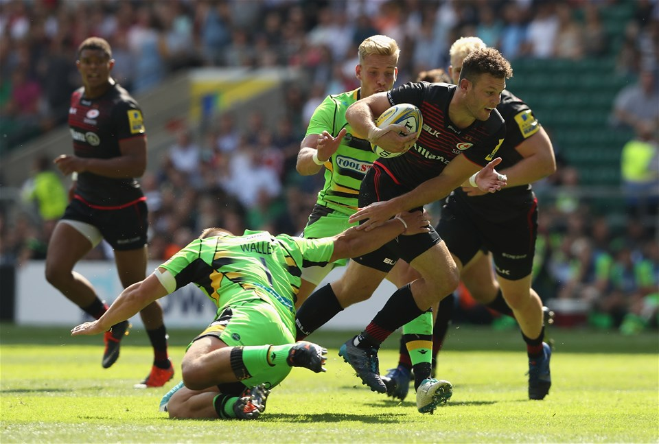 LONDON, ENGLAND - SEPTEMBER 02:  Duncan Taylor of Saracens charges upfield during the Aviva Premiership match between Saracens and Northampton Saints at Twickenham Stadium on September 2, 2017 in London, England.  (Photo by David Rogers/Getty Images)