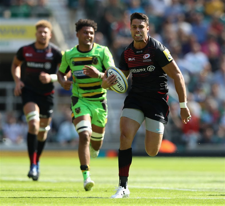 LONDON, ENGLAND - SEPTEMBER 02:  Sean Maitland of Saracens breaks clear to score a try during the Aviva Premiership match between Saracens and Northampton Saints at Twickenham Stadium on September 2, 2017 in London, England.  (Photo by David Rogers/Getty Images)