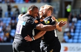 COVENTRY, ENGLAND - SEPTEMBER 02:  Dan Robson of Wasps celebrates scoring a try during the Aviva Premiership match between Wasps and Sale Sharks at The Ricoh Arena on September 2, 2017 in Coventry, England.  (Photo by Clive Mason/Getty Images)