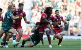 LONDON, ENGLAND - SEPTEMBER 02:  Marland Yarde of Harlequins off loads the ball during the Aviva Premiership match between London Irish and Harlequins at Twickenham Stadium on September 2, 2017 in London, England.  (Photo by David Rogers/Getty Images)