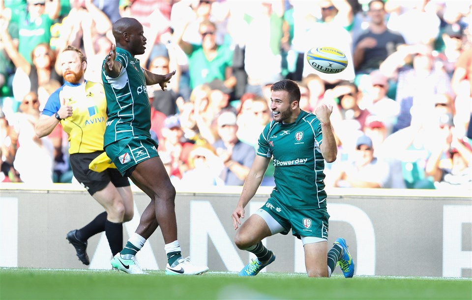LONDON, ENGLAND - SEPTEMBER 02:  Tommy Bell of London Irish celebrates after scoring their second try during the Aviva Premiership match between London Irish and Harlequins at Twickenham Stadium on September 2, 2017 in London, England.  (Photo by Warren Little/Getty Images)