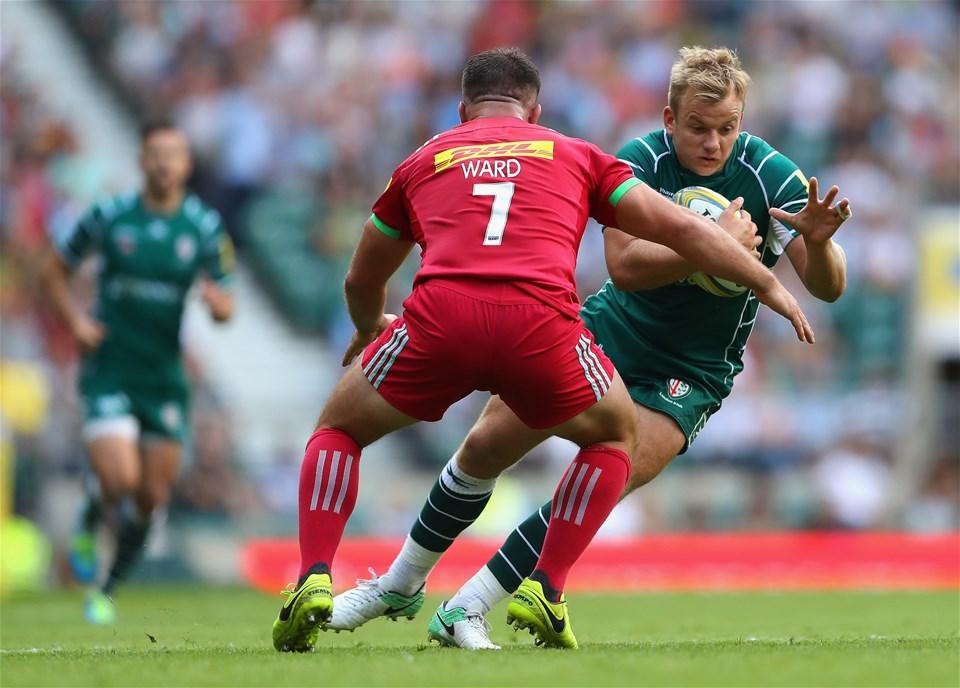 LONDON, ENGLAND - SEPTEMBER 02:  Scott Steele of London Irish in action during the Aviva Premiership match between London Irish and Harlequins at Twickenham Stadium on September 2, 2017 in London, England.  (Photo by Warren Little/Getty Images)