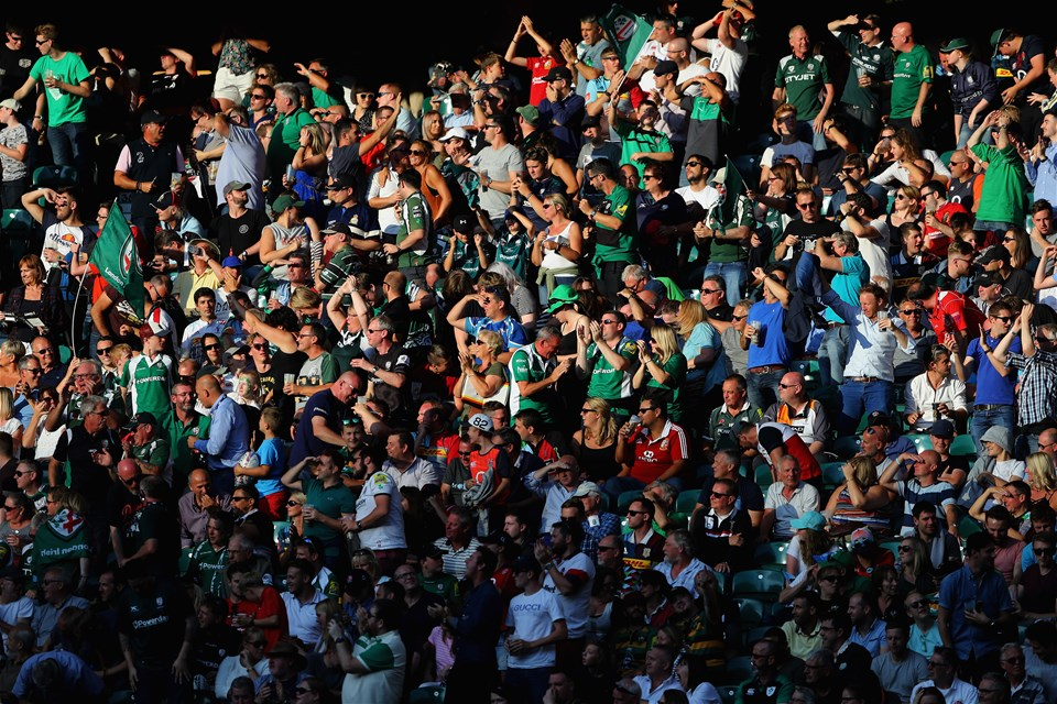 LONDON, ENGLAND - SEPTEMBER 02:  The crowd cheer a London Irish try during the Aviva Premiership match between London Irish and Harlequins at Twickenham Stadium on September 2, 2017 in London, England.  (Photo by Warren Little/Getty Images)