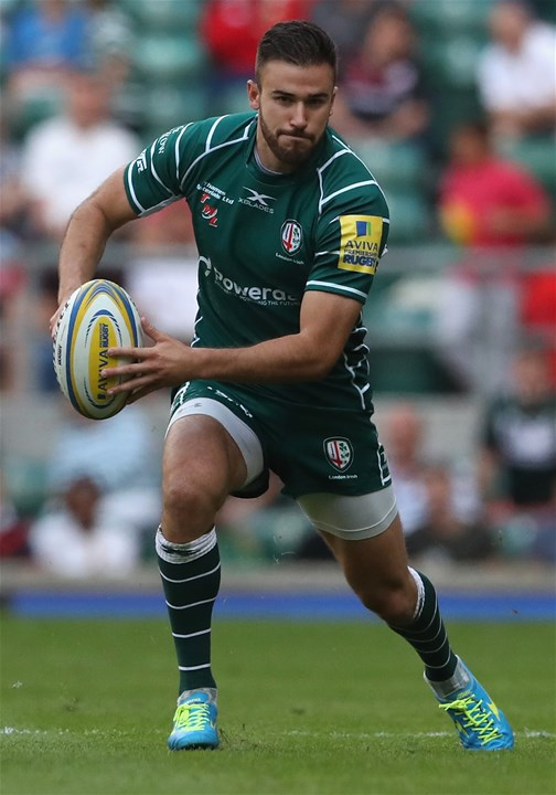 LONDON, ENGLAND - SEPTEMBER 02:  Tommy Bell of London Irish runs with the ball during the Aviva Premiership match between London Irish and Harlequins at Twickenham Stadium on September 2, 2017 in London, England.  (Photo by David Rogers/Getty Images)