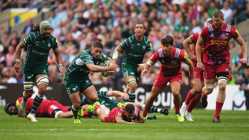 LONDON, ENGLAND - SEPTEMBER 02:  Brendan McKibbin of London Irish breaks through as he scores their fourth try during the Aviva Premiership match between London Irish and Harlequins at Twickenham Stadium on September 2, 2017 in London, England.  (Photo by Mike Hewitt/Getty Images)
