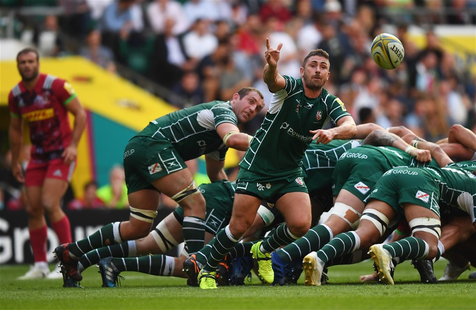 LONDON, ENGLAND - SEPTEMBER 02:  Brendan McKibbin of London Irish passes the ball during the Aviva Premiership match between London Irish and Harlequins at Twickenham Stadium on September 2, 2017 in London, England.  (Photo by Shaun Botterill/Getty Images)