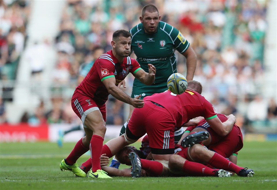 LONDON, ENGLAND - SEPTEMBER 02:  Danny Care of Harlequins passes the ball during the Aviva Premiership match between London Irish and Harlequins at Twickenham Stadium on September 2, 2017 in London, England.  (Photo by David Rogers/Getty Images)