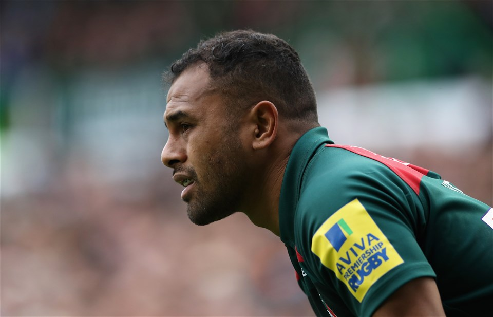 LEICESTER, ENGLAND - SEPTEMBER 03:  Telusa Veainu of Leicester looks on during the Aviva Premiership match between Leicester Tigers and Bath Rugby at Welford Road on September 3, 2017 in Leicester, England.  (Photo by David Rogers/Getty Images)