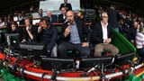 LEICESTER, ENGLAND - SEPTEMBER 03:  Lawrence Dallaglio, the BT Sport rugby pundit with Austin Healey (L) and Nick Mullins (R) during the Aviva Premiership match between Leicester Tigers and Bath Rugby at Welford Road on September 3, 2017 in Leicester, England.  (Photo by David Rogers/Getty Images)