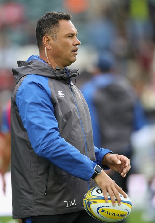 LEICESTER, ENGLAND - SEPTEMBER 03:  Tabai Matson, the Bath first team coach looks on during the Aviva Premiership match between Leicester Tigers and Bath Rugby at Welford Road on September 3, 2017 in Leicester, England.  (Photo by David Rogers/Getty Images)
