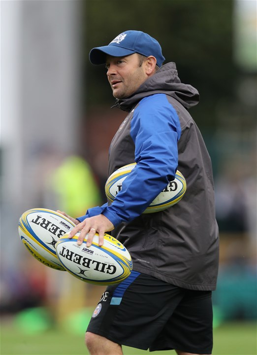 LEICESTER, ENGLAND - SEPTEMBER 03: Darren Edwards, the assistant first team coach of Bath, looks on during the Aviva Premiership match between Leicester Tigers and Bath Rugby at Welford Road on September 3, 2017 in Leicester, England.  (Photo by David Rogers/Getty Images)